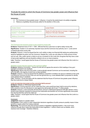 EDEXCEL A LEVEL POLITICS (Essay Plan):  House of Commons + House of Lords