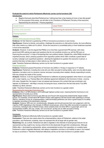 EDEXCEL A LEVEL POLITICS (Essay Plan): Parliament's Functions