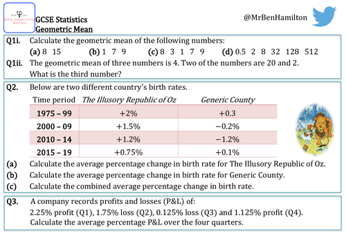 GCSE Statistics - Geometric Mean Reasoning Resource