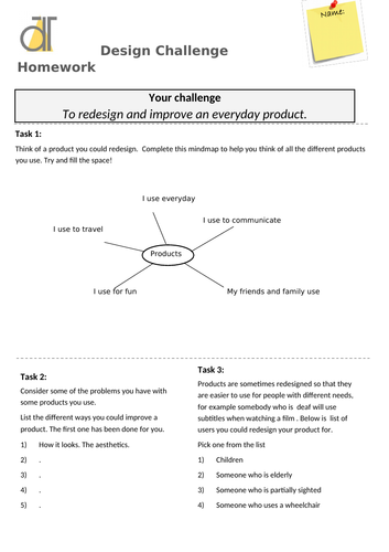 Design and Technology homelearning extended homework COVID-19 design challenge
