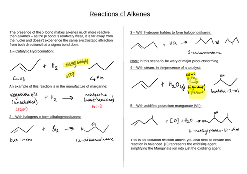 A* AS/A Level Chemistry Poster on Alkenes