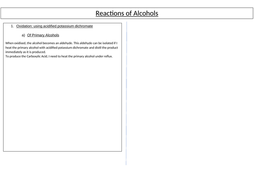 A* AS/A Level Chemistry Poster on Alcohols