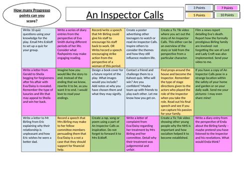 Activity Grid An Inspector Calls