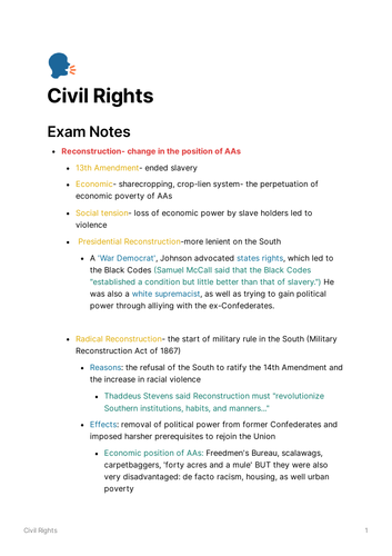 A-level US Civil Rights Notes