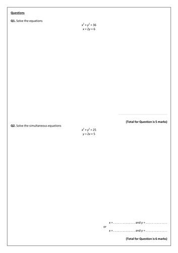 GCSE (9-1) Simultaneous Equations Exam Pack