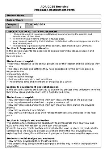 AQA Drama Portfolio Assessment Form