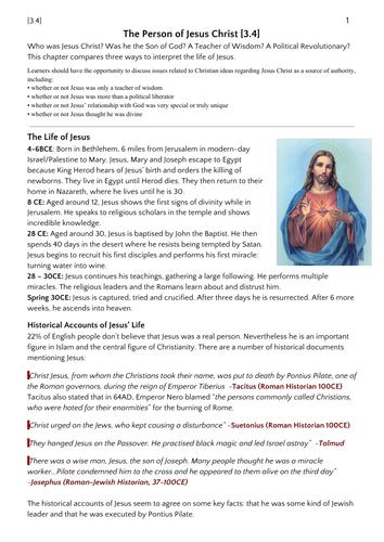 Jesus (OCR RS 3.4)