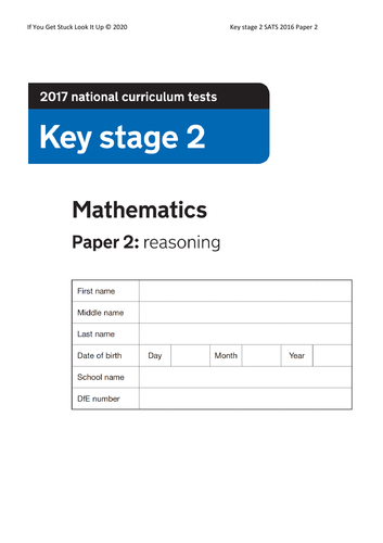 Key Stage 2 Maths 2017 Paper 2 Reasoning (reduced from 24 to down to 10 sheets)