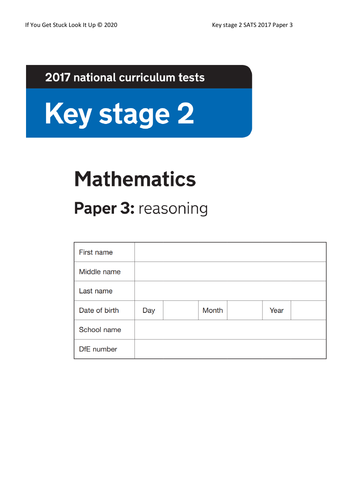 Key Stage 2 Maths 2017 Paper 3 Reasoning (from 24 to 8 sheets)