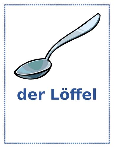 Den Tisch Decken und Utensilien (Set the Table and Utensils in German) Posters