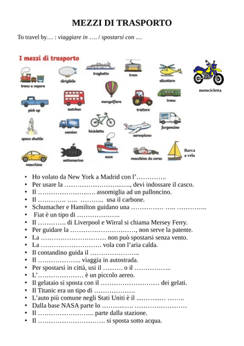 Means of transport in Italian / I mezzi di trasporto in italiano