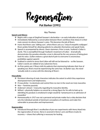 Regeneration / Pat Barker - A-LEVEL ENGLISH LIT - AQA - A* - Complete Revision Notes
