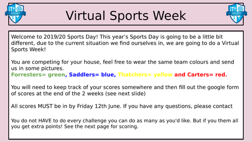 VIRTUAL SPORTS DAY - LOCKDOWN