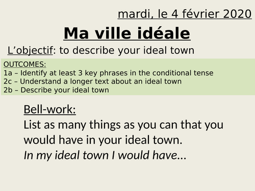 Ma ville idéale - my ideal town - y7 French