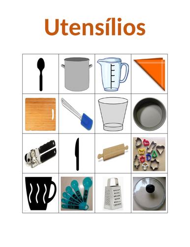 Utensílios (Utensils in Portuguese) Bingo
