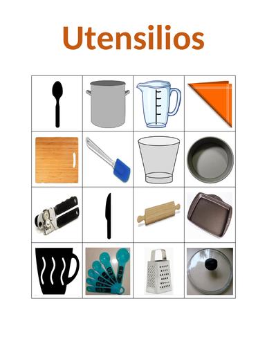 Utensilios (Utensils in Spanish) Bingo
