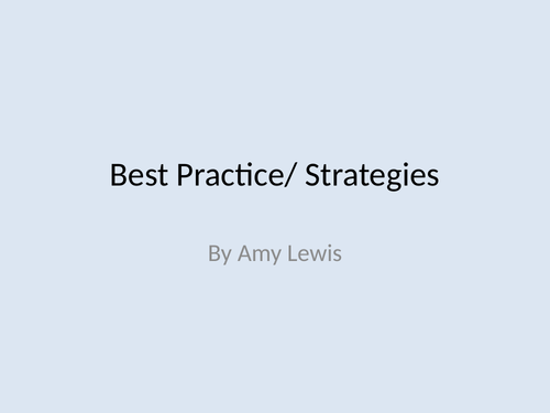 best practices/strategies to support