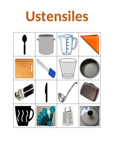 Ustensiles (Utensils in French) Bingo