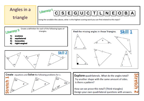 Activity Mat - Angles in a triangle