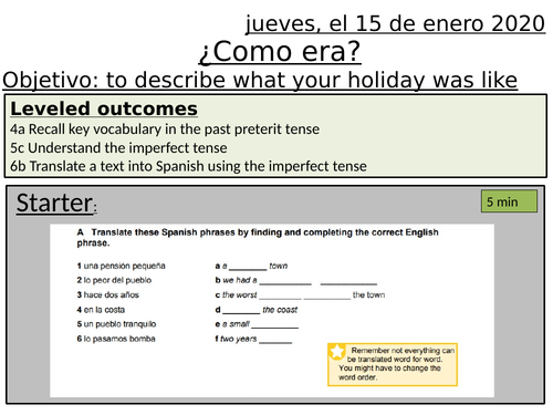Como era - best day on holiday - imperfect tense - y10 spanish