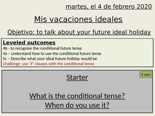 Mis vacaciones ideales - my ideal holiday - conditional tense - y10 spanish
