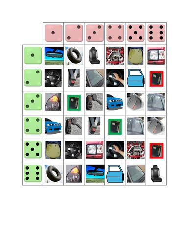 Car Parts Dice Game