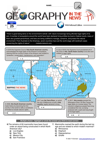 Geography in the News Weekly Quiz