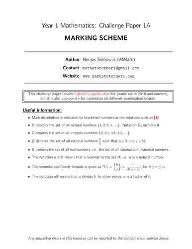 Year 1 Maths - CHALLENGE Paper 1A