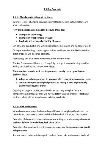 GCSE Business Studies Edexcel 1.1 key concepts