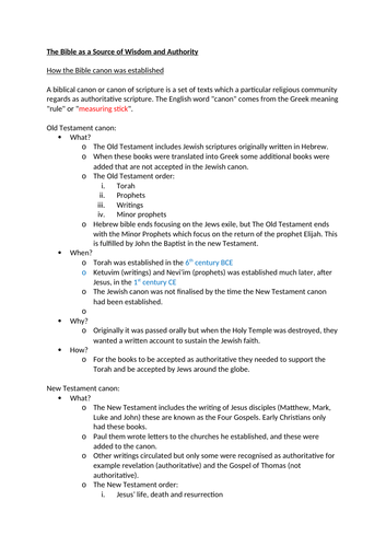 EDUQAS/WJEC A Level Christianity Theme 1D Bible as a Source of Wisdom and Authority Summary Sheet