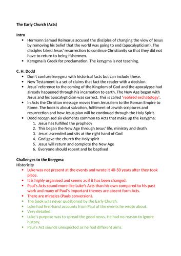 EDUQAS/WJEC A Level Christianity Theme 1E The Early Church Kerygma C.H Dodd Bultmann Summary