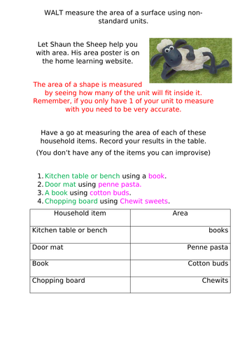 Area Home Learning Task