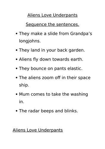 Aliens Love Underpants Literacy Pack