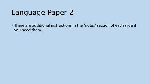 KS3 AQA Language paper 2- Home/distance  learning