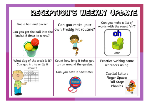 EYFS/Reception Home learning activity grids (lockdown 2020)