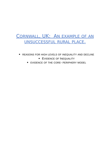 Geography- Unsuccessful Place Case Study