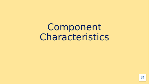 Component Characteristics - Distance Learning