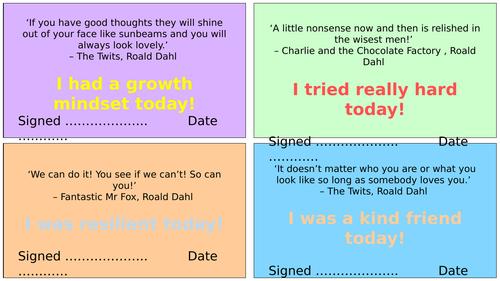 Roald Dahl Positive Praise Cards