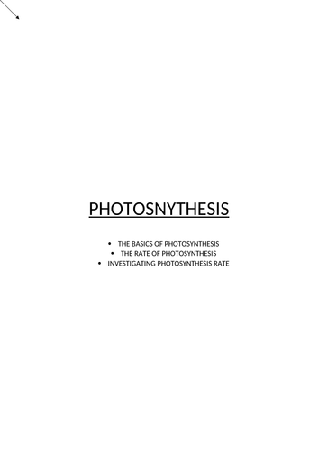 Photosynthesis revision booklet