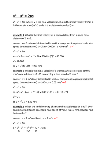 physics equation practise