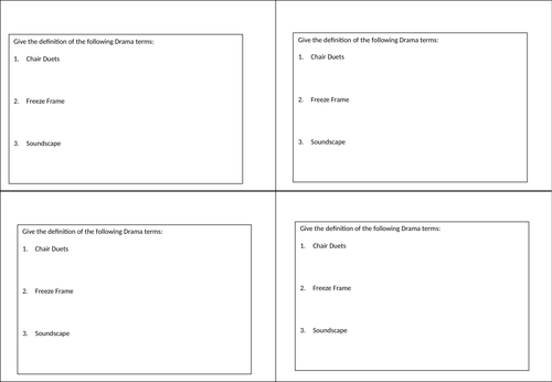 Drama Knowledge/Plenary Question Cards
