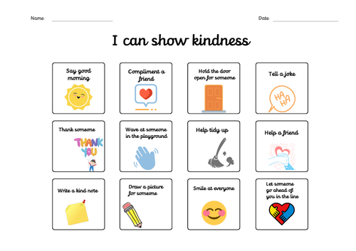 I can show kindness chart