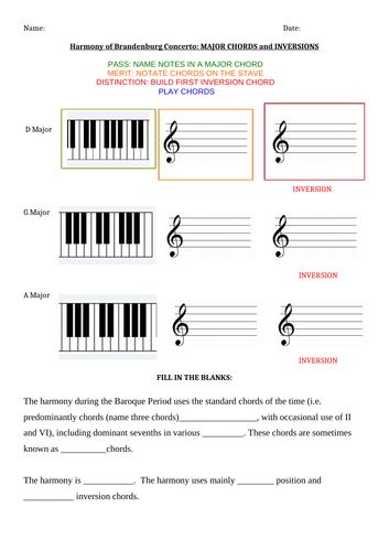 GCSE Edexcel AOS1: J S Bach: Mvt 3, from Brandenburg Concerto No. 5 in D Major-Harmony