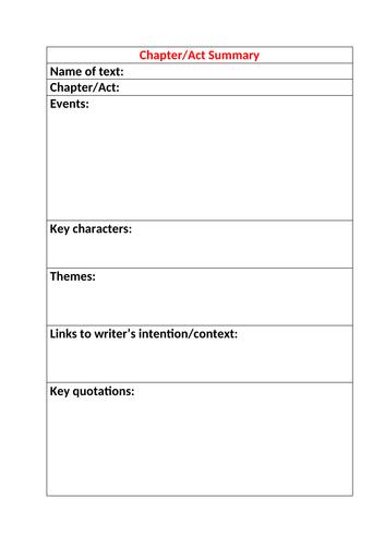 English Lit Resource: Chapter/Act Summary