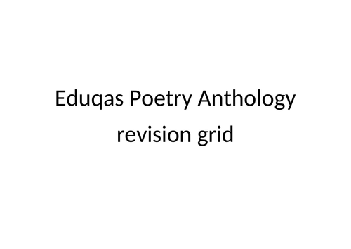 KS4 - Eduqas Poetry Anthology - A3 table for revision and comparison