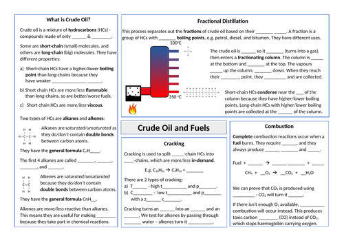 C9 Crude Oil & Fuels Revision Summary Sheet
