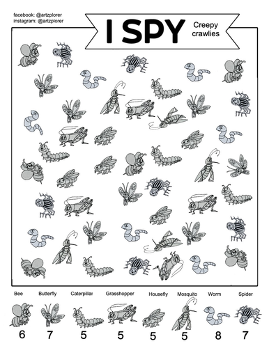 I Spy - CREEPY CRAWLIES: Colouring and quiet game for kids