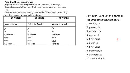 Tense revision (present, perfect & imperfect) KS4