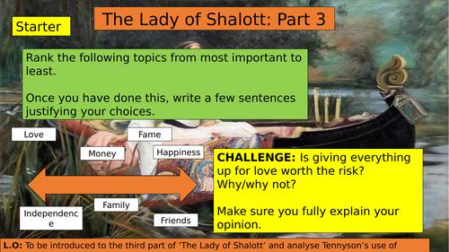 KS3 (7/8/9) The Lady of Shalott Part Three