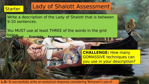 KS3 (7/8/9) The Lady of Shalott Final Assessment